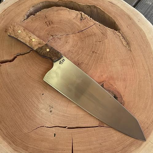 "8"" Chef Knife- blue maple/ maple burl"