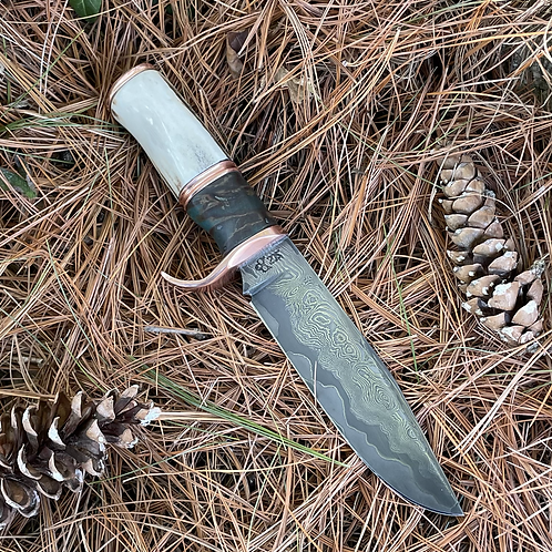 Damascus North Country Hunter with sheath