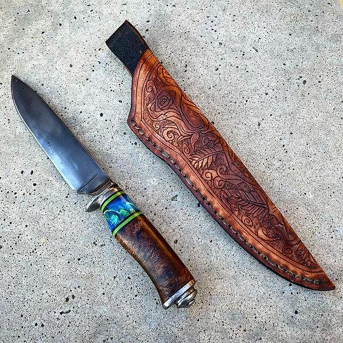 Camp knife with custom engraved sheath