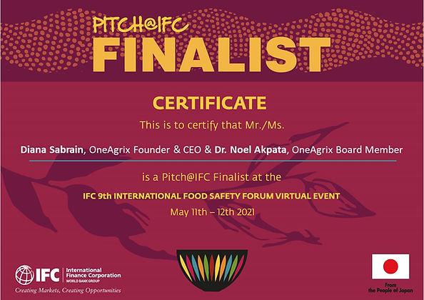 Forum certificates_Pitch_IFC finalist OneAgrix.jpg