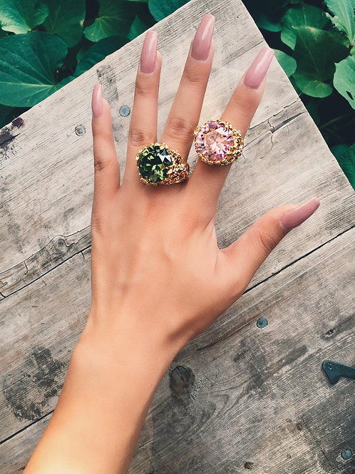 Colored Crystal Rock Ring
