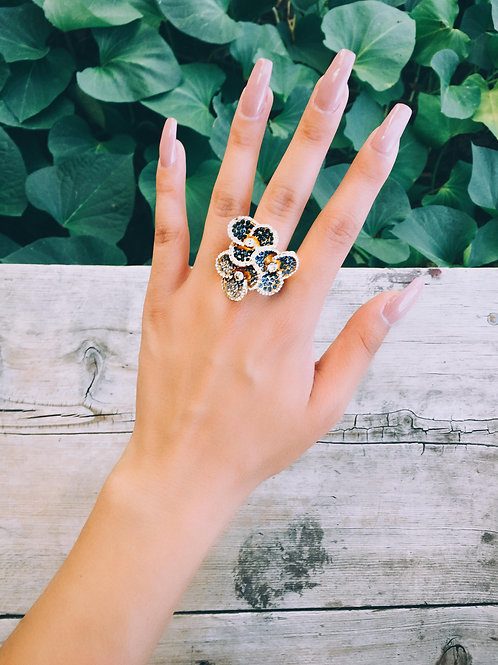 Tri Crystal Flower Ring