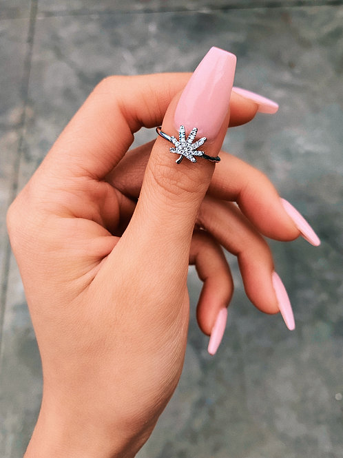 Dainty Crystal Silver Mary Jane Ring