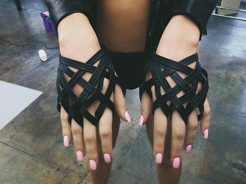 Black Pleather Criss Cross Glove