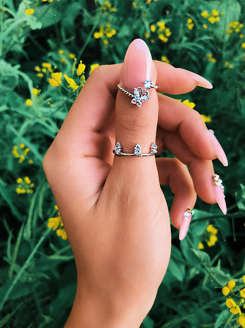 Crystal Butterfly Thumb Nail Ring
