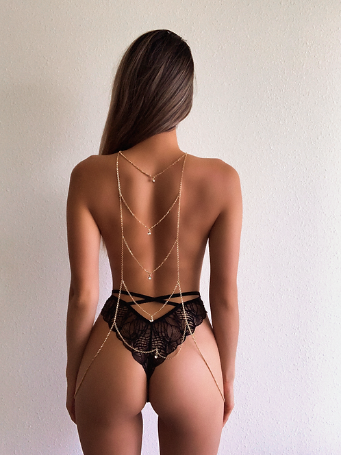 Layered Crystal Drop Ladder Body Chain