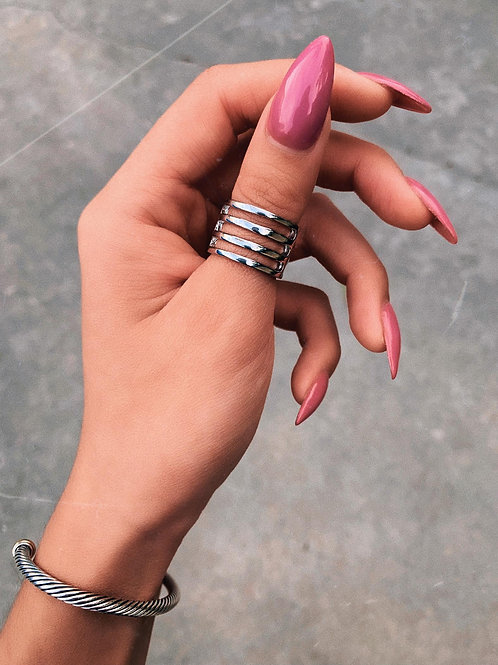 Bold Tri Lines Ring