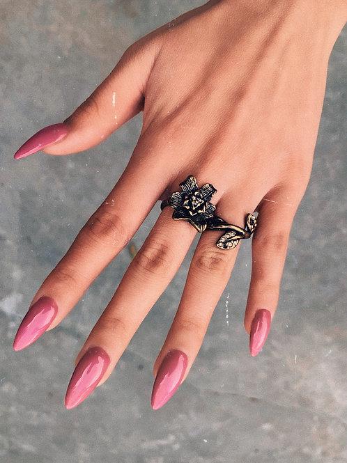 Rust Gold Sunflower Double Finger Ring