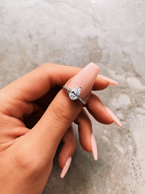 Crystal Tear Drop Mid Ring