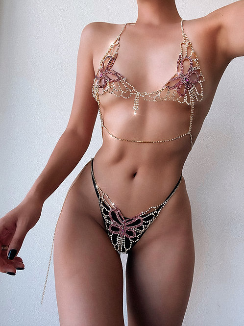 Crystal Butterfly Bra and Thong Set