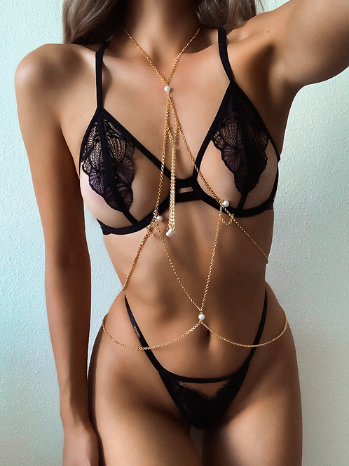 Golden Pearl Pyramid Body Chain