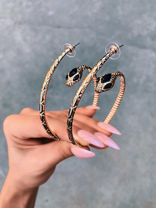 Golden Snake Hoop Earrings