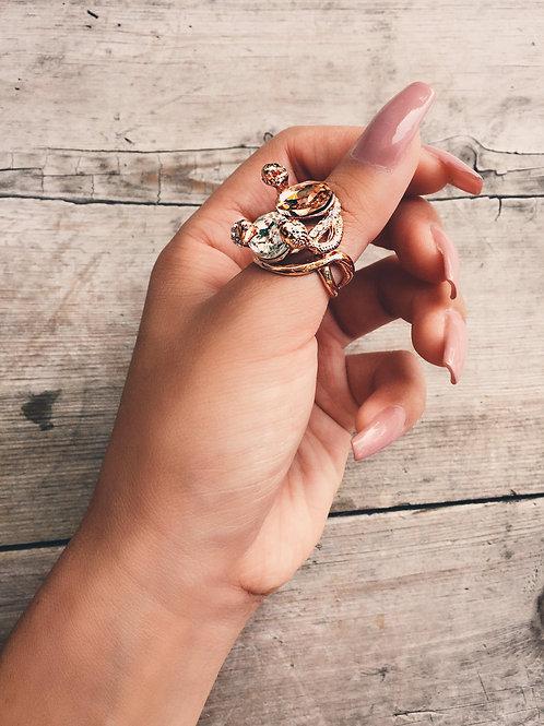 Rose Gold Triple Snake Rock Ring