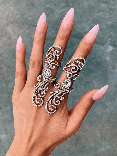 Crystal Cursive Swirl Ring