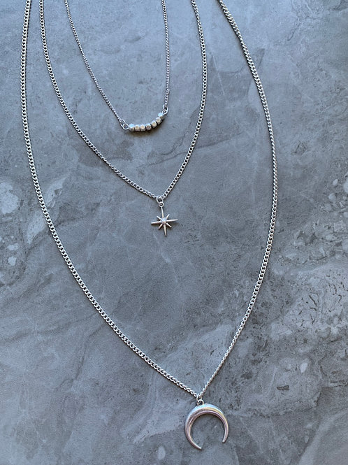Tri Layered North Star and Moon Long Necklace