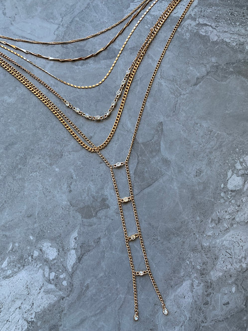Layered Crystal Ladder Necklace