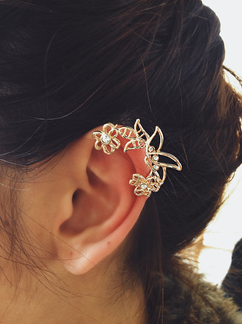 Pointed Floral Ear Cuff