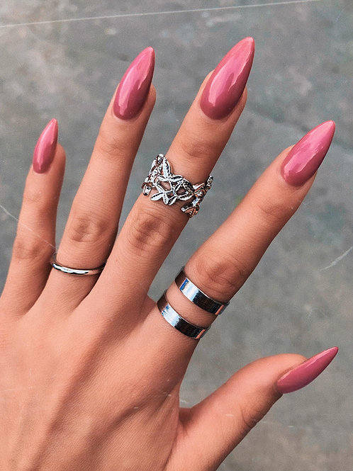 Tri Pieces Silver Rings Set