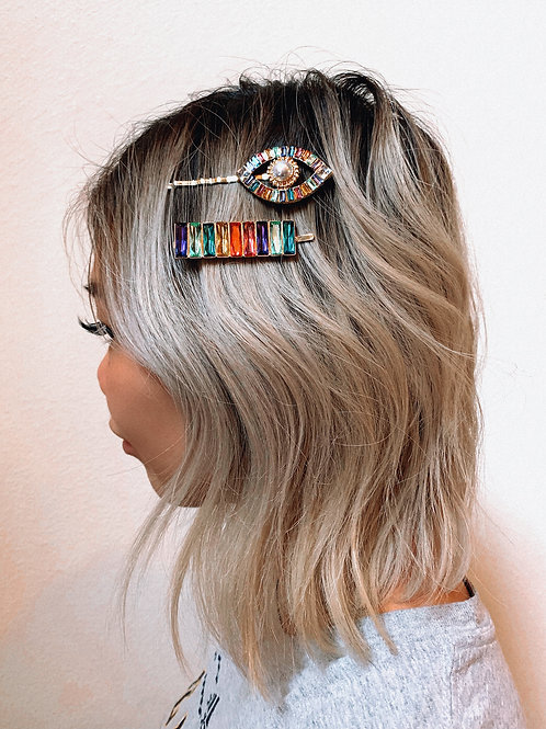 Rainbow Blocks Hair Pin