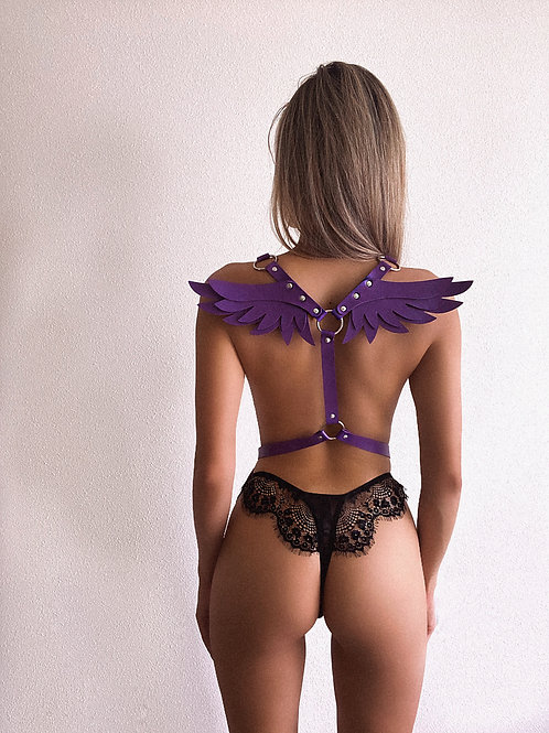 Purple Pleather Angel Wings Chest Harness