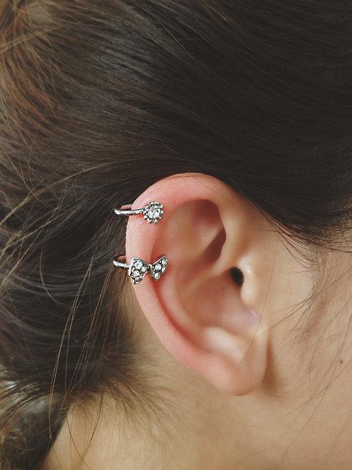 Crystal Bow Stud Ear Cuff