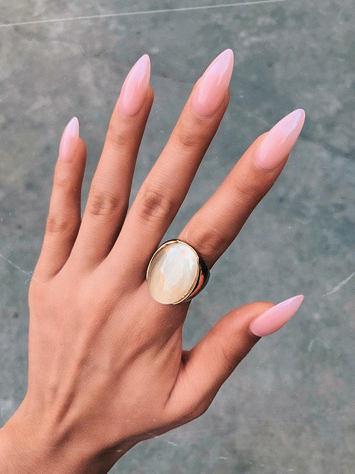 Transparent Pearl Glass Ring