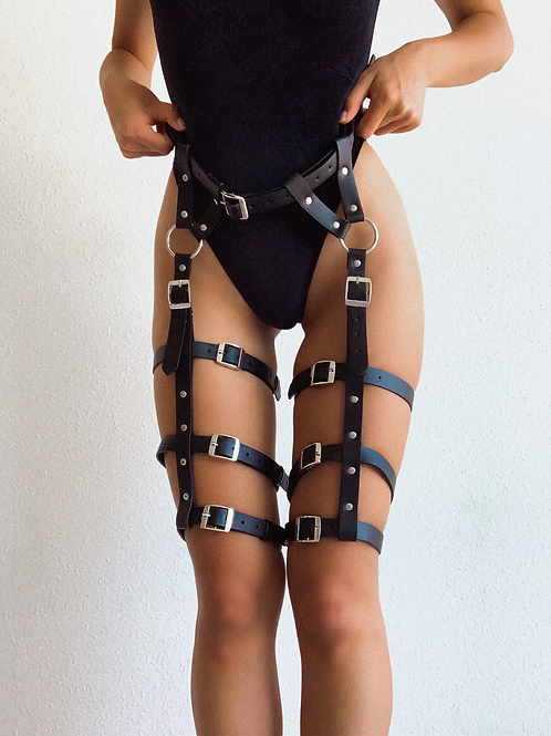 Black and Silver Waist Thigh Body Harness