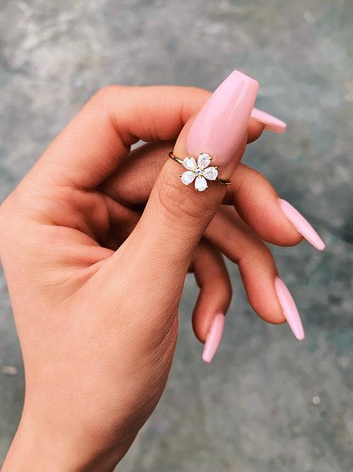 Crystal Flower Mid Ring