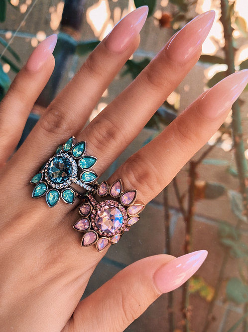 Stackable Colored Crystal Flower Sun Rings