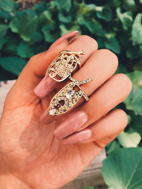 Gold Oval Crystal Garden Nail Ring