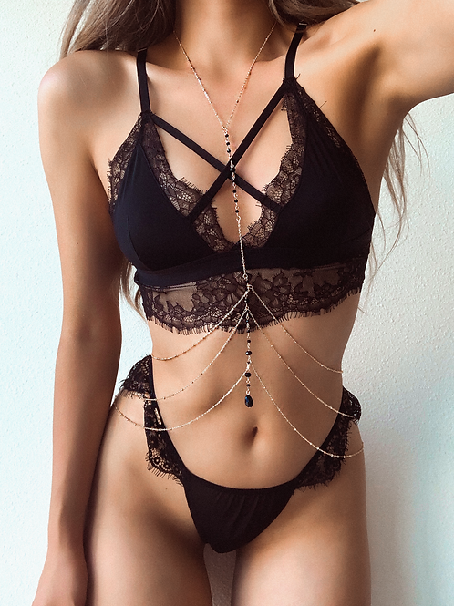 Dainty Black and Gold Beaded Tri Tiered Body Chain