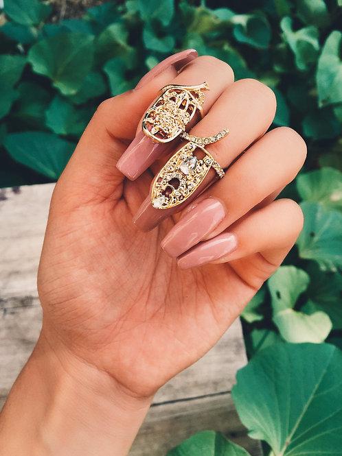 Gold Crystal Round Nail Ring