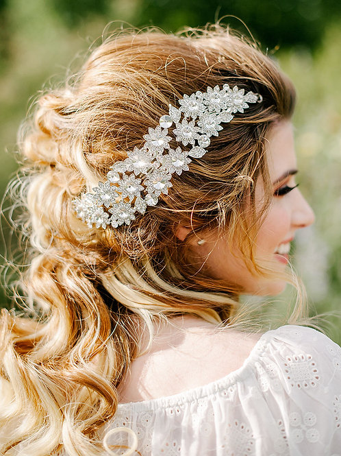 Sharp Crystal Flower Bouquet Head Piece