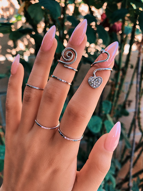 Crystal Wrapped Heart Nail Ring