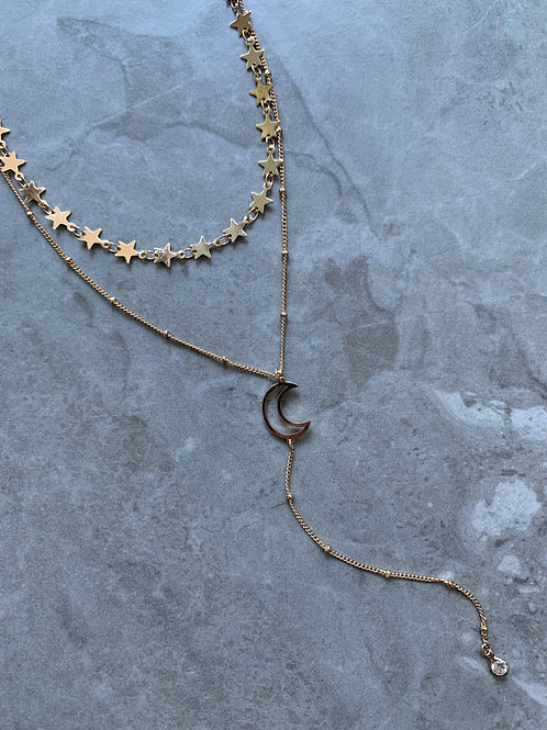 Moon and Stars Choker Layered Necklace