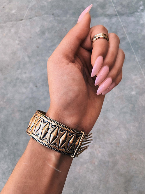 Gold Falling Embedded Chains Bangle