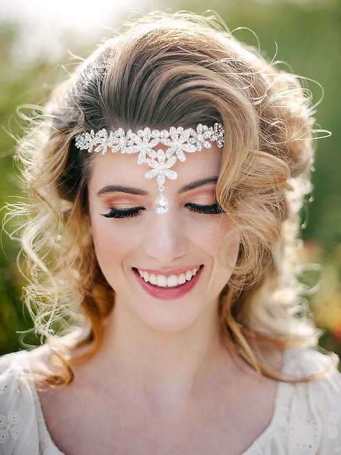 Bold Crystal Flower Droplet Head Piece