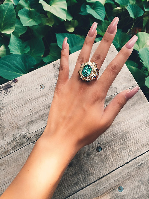 Crystal Emerald Rock Ring