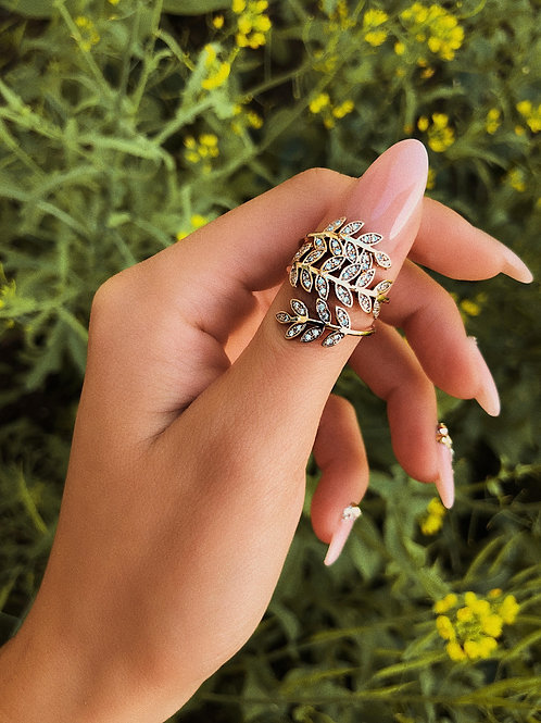 Gold Crystal Feather Wrap Ring