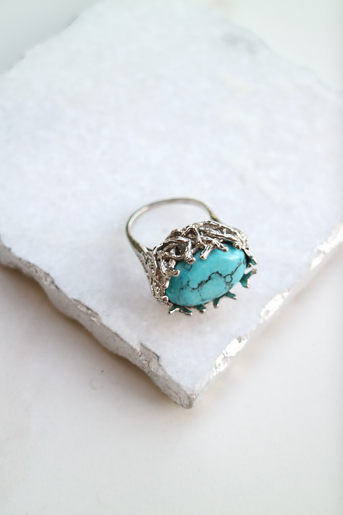 Emerald Turquoise Stone Ring