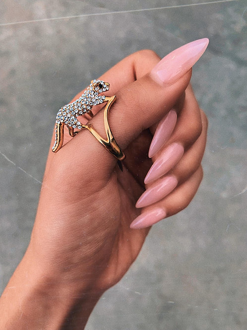 Crystal Cheetah Stand Ring