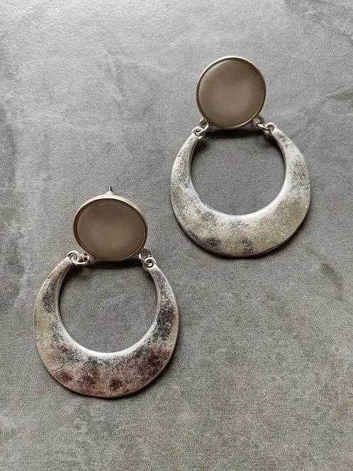 Metallic Silver Sun and Moon Earrings
