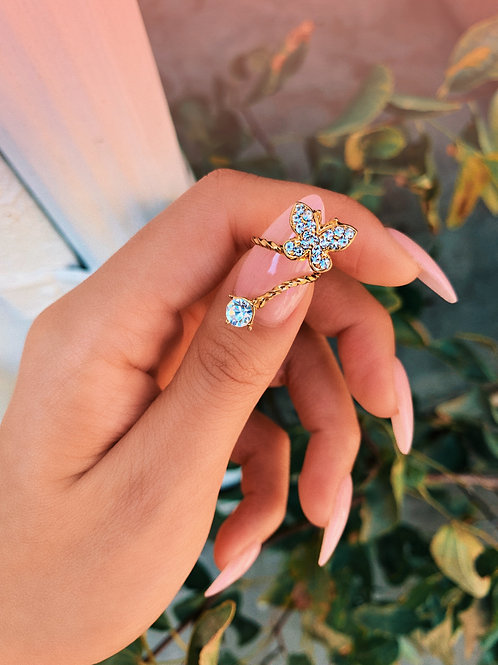 Bold Crystal Butterfly Nail Ring