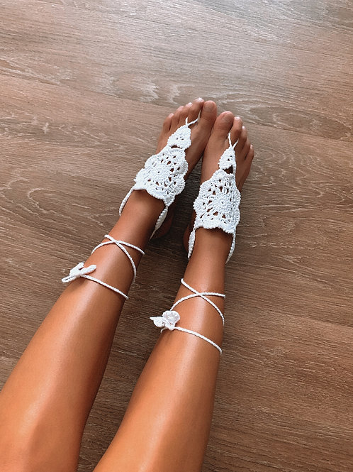 White Knitted Floral Tie Anklet