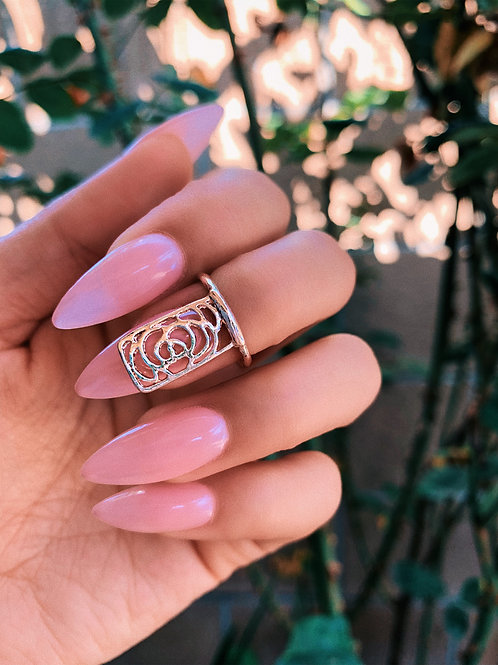 Rose Gold Rose Block Nail Ring