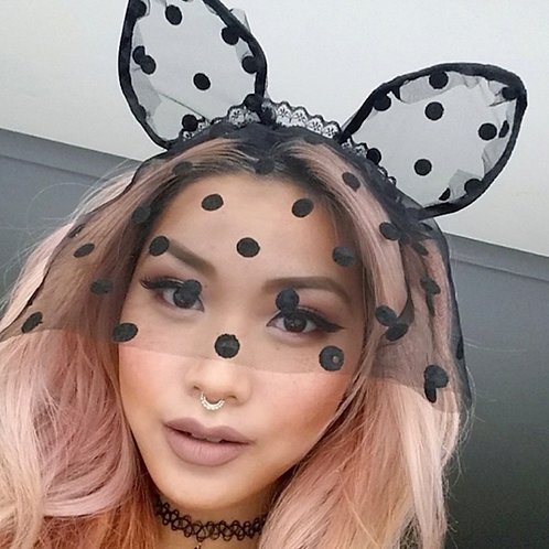 Large Polka Dot Cat Ears Headband