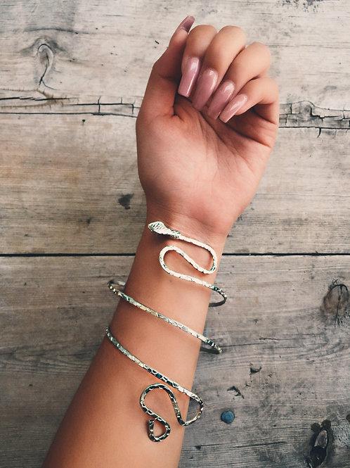 Silver Plain Snake Arm Cuff