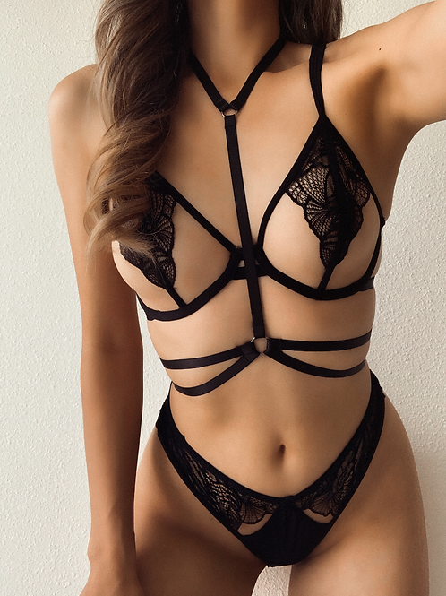 Black Double Layer Body Harness