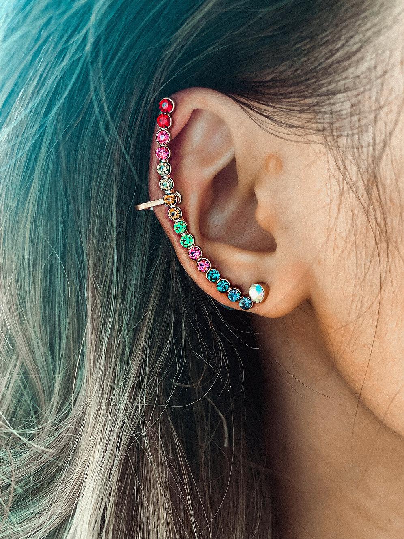 Rainbow Moon Ear Cuff