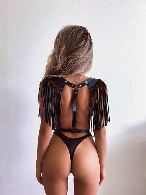 Black Pleather Fringe Body Harness